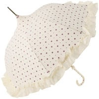 Cream Umbrella with Lavender Spots and Frill by Lisbeth Dahl