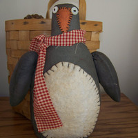 Primitive Grungy Penguin Fabric Doll/Shelf Sitter Winter and Holiday Decoration