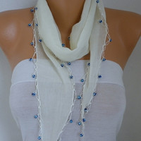 Spring Celebrations Creamy White Cotton Scarf Easter Evil Eye Bead Necklace Cowl Gift Ideas For Her Women Fashion Accessories Mother's Gift