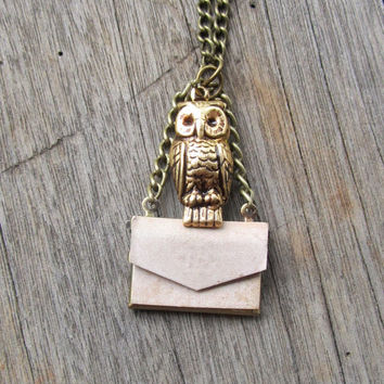 Harry Potter 'Owl Post' Locket Necklace Owl by ChanceryLane