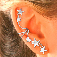 Single Right - Full Ear, 5 Star Ear Cuff in Sterling Silver