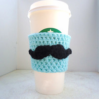 Mustache Coffee Cup Cozy Sleeve, Aqua Blue