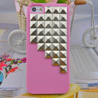 iPhone 5 hard Case cover with silver pyramid stud for iPhone 5 ,iPhone 5 case,iPhone hand case cover  -2703