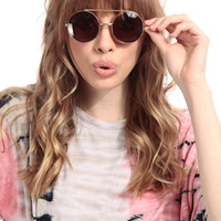 Brown Two in One Round Frame Sunglasses
