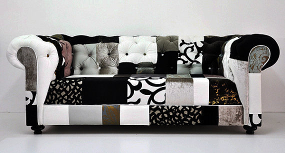 b w chesterfield patchwork sofa by from name design studio. Black Bedroom Furniture Sets. Home Design Ideas