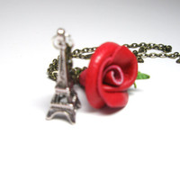 Red LeatherRose  and Eiffel Tower Necklace by NYLeatherRose