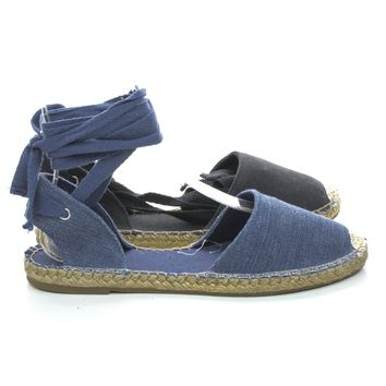 Saturday30 Espadrille Rope Around Flat Round Toe Ankle Wrap Sandals