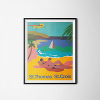 St Thomas Travel Poster, Printable Art, Digital Download, A3, 300dpi