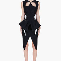 Mugler Black Wool Padded Cutout Dress for Women | SSENSE