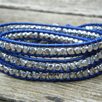 Silver Czech Glass Beaded Blue Leather 3 Wrap Bracelet