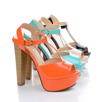 Audit Peep Toe T-Strap Slingback Platform Stacked Chunky High Heels