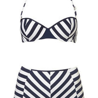Stripe Push Up Bikini and Pant - Swimwear  - Apparel