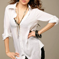 FANCYQUBE SEXY LONG SLEEVE TOP TUNIC BLOUSE WHITE S 1423