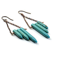 Turquoise earrings: blue earrings, inspired by native american earrings brass chain long earrings ethnic jewelry