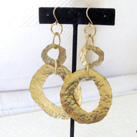 Hammered brass earrings long dangle hoops, modern earrings