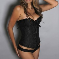 Black Corset Midnight Soiree Floral Pattern Ruffle Trim with Matching G-String Corset