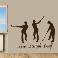 Golfer Wall Decals Sport Boys Player Quote Live Laugh Golf Vinyl Decal Sticker Home Vinyl Art Mural Girl Bedroom Kids Nursery Decor KG694