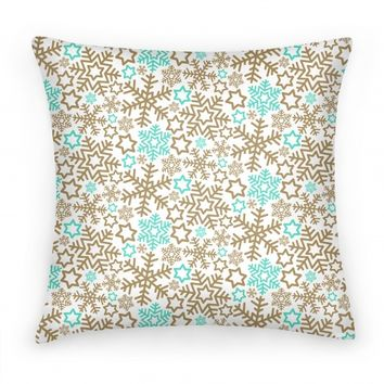 Winter Snowflakes Gold and Mint Pattern