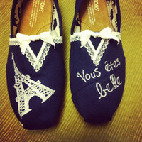 Women's French Lace Toms Shoes