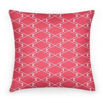 Coral Hipster Bow Arrow Crisscross Pattern