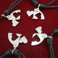 4 Piece  puzzle friendship couples necklace pendant silver coin jewelry