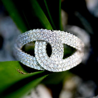 Double Interlocking Loop Ring Infinity Interlocked Lasso/weave made with Cubic Zirconia & 925 Sterling Silver Micro Pave  CZ
