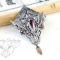 Amethyst Pendant,Wings Necklace,Steampunk Jewelry,Glass Pendant,Sterling silver Plated Necklace,Stone Necklace
