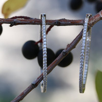 """Inside Out Oval Hoop Earrings 1.73"""" made with Cubic Zirconia & 925 Solid Sterling Silver Inside Outside In and Out with cz"""