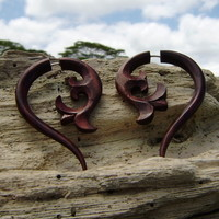 Fake Gauges Wood Earrings tribal style hand made naturally body jewelry plugs