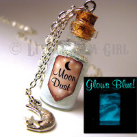 Moon Dust Glow in the Dark - Medium Glass Bottle Cork Necklace - Space Galaxy Ice Blue - Magic Spells Potion Vial Charm