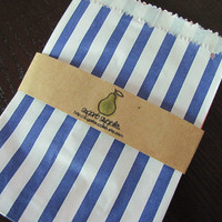 Traditional Sweet Shop Bags-Blue and White Striped Merchandise Bags-Available in 9 Colors