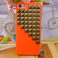 iPhone 5 hard Case cover with bronze pyramid stud for iPhone 5 ,iPhone 5 case,iPhone hand case cover  -2706