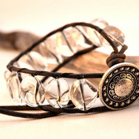 Bohemian chic bling bracelet - Chunky rock crystal beaded leather cuff
