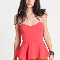 Toxic Coral Peplum Top - $32.00: ThreadSence, Women's Indie & Bohemian Clothing, Dresses, & Accessories