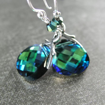 Blue Green Crystal Earrings Sterling Silver OR Gold RARE Swarovski Crystal Dark Green Earrings Rich Deep Green Dangle Drop Earrings