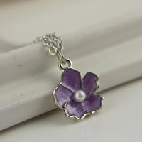 Flower Girl Gift, Purple Sakura Necklace, Bridesmaids Gift, Wedding Bridal, Mothers Day Gift, Affordable Gift, Spring Flower, Pearl