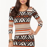 A&#x27;GACI Tribal Hacci Bodycon Dress - DRESSES