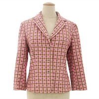 Vintage 60s Jacket Fitted Pink Olive Green Plaid Blazer Medium Large