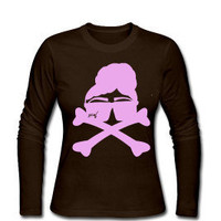 Womens-Natural Boss Lady Rebel-Long Sleeve Jersey T-Shirt-Chocolate