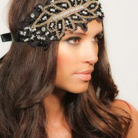 Black Flapper Style Headband Beaded Headpiece