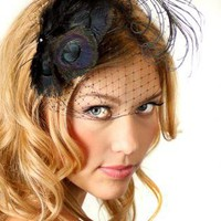 Black Peacock Feather Netting Fascinator Hair Clip