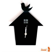 Black Bird House Wall Hanging Clock