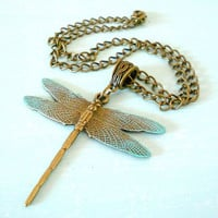Dragonfly Autumn Woodland Fantasy Necklace in Antique Brass and Patina - Short, Unique & Casual from Dryad Dreams