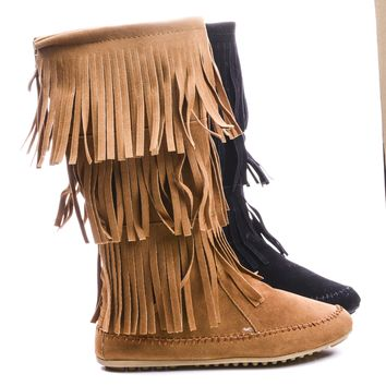 Cherokee03 Round Toe Mid Calf Layered Fringe Boots