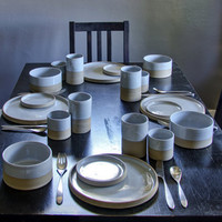 modern dinnerware dish set - handmade table setting for four - modern dishes pottery dinnerware minimal minimalist ceramic dish set