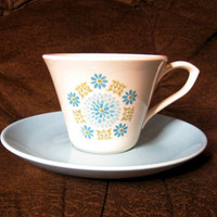 Tea Cup and Saucer Turquoise Blue and White Ceramic Pottery Teacup Unmarked Floral Daisy or Chrysanthemum