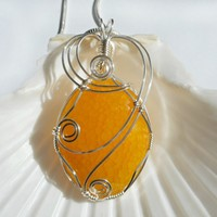 Wire Wrapped Jewelry Handmade, Stone Pendant, Yellow Dragon Vein Agate