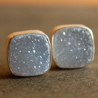 Silver Soft Grey Agate Druzy Stud Earrings - Square Post Earrings - AAA Quality
