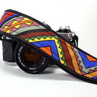 Camera Strap, Handpainted, Tribal, Aztec, OOAK, dSLR or SLR, Southwestern