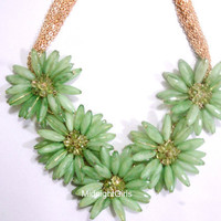 Ship Now:  Anthropologie Inspired, Green Flower Necklace, JCrew Inspired, Green Necklace, Bridesmaids Necklace,  Rhinestones